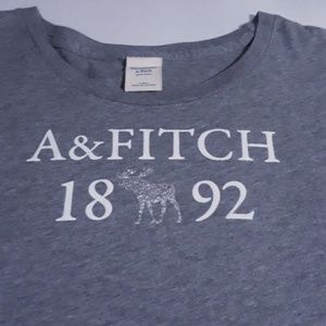 Abercrombie & Fitch Tops - grey abercrombie & fitch logo, fitted tee, size l